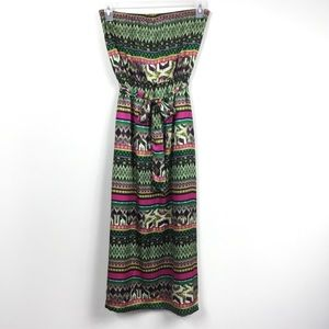 HONEY PUNCH STRAPLESS TRIBAL PRINT MAXI DRESS